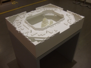 Photo showing handmade architectural model of the exhibition space