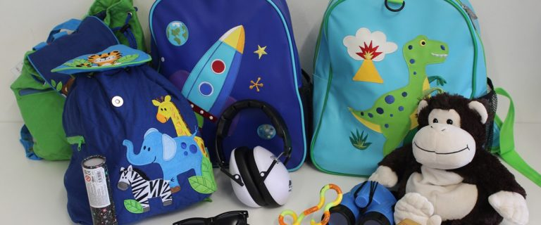 Colourful sensory backpacks